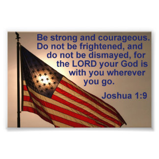 Sunlit Flag with Joshua 1:9 Photo Print