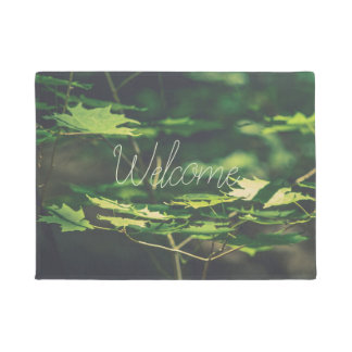 Sunlit Leaves Forest CUSTOM Green Door Mat