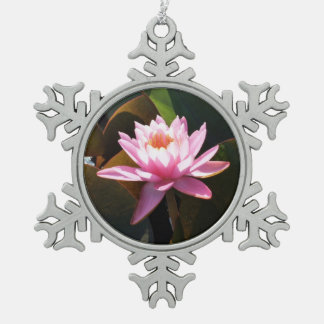 Sunlit Waterlily Pink Floral Water Garden Snowflake Pewter Christmas Ornament