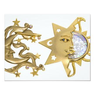"SunMoonSparkle053109 4.25"" X 5.5"" Invitation Card"