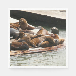 Sunning Sea Lions in San Francisco Paper Napkin
