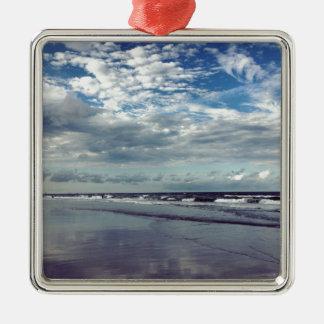 sunny beach day Silver-Colored square ornament