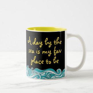 Sunny Beach Saying Two-Tone Coffee Mug