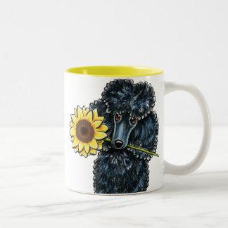 Sunny Black Miniature Poodle Two-Tone Coffee Mug