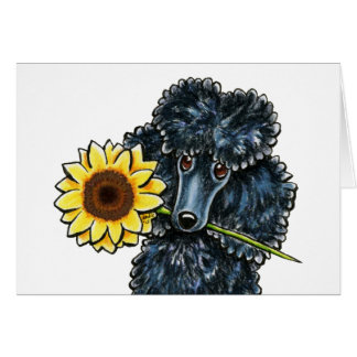 Sunny Black Miniature Poodle Yellow Inside Note Card