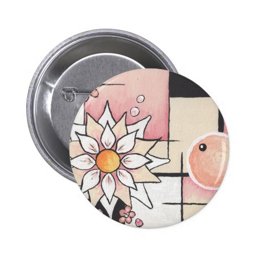 Sunny Blush Abstract Design Pinback Button