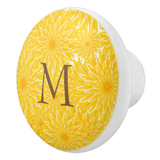 Sunny cheerful yellow flowers dandelion pattern ceramic knob