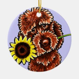 Sunny Chocolate Labradoodle Off-Leash Art™ Ceramic Ornament