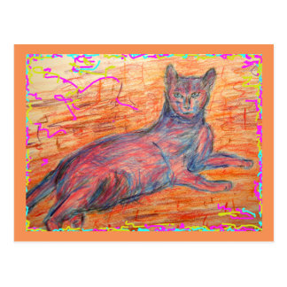 sunny cobblestone cat greetings postcard