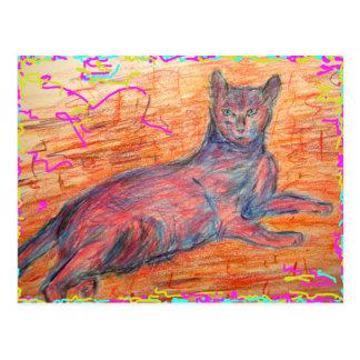 sunny cobblestone cat hello postcard