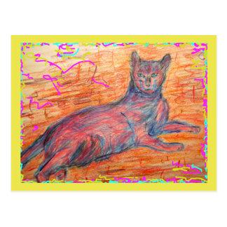 sunny cobblestone cat siesta time postcard