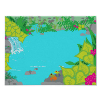 Sunny Creek with Frogs Poster