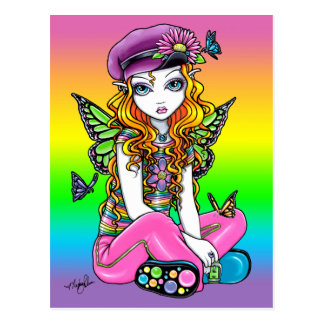 """Sunny"" Cute Rainbow Butterfly Fairy Art Postcard"