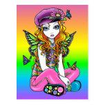 """""""Sunny"""" Cute Rainbow Butterfly Flower Postcard"""