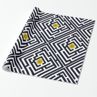 Sunny Dandelion in Black Labyrinth on Custom Color Wrapping Paper