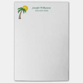 Sunny Day at the Beach Palm Tree Custom Wording Post-it Notes