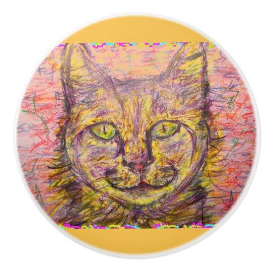 sunny day cat ceramic knob