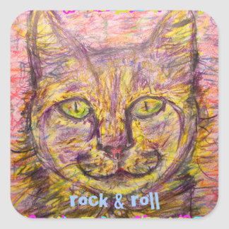 sunny day cat rock & roll square sticker