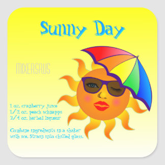 Sunny Day Drink Recipe Square Sticker