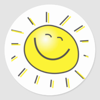 Sunny day, smiling sun, Day to smile! Classic Round Sticker