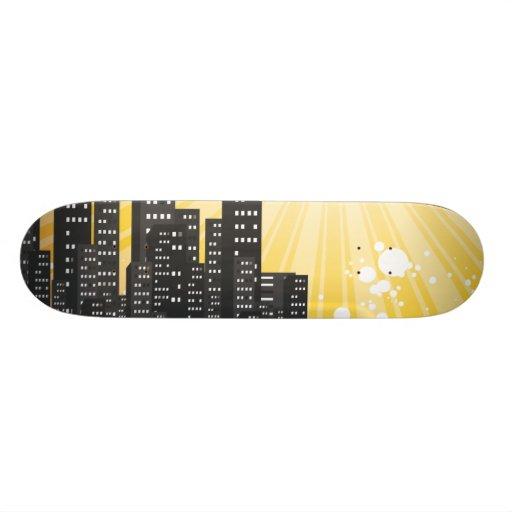 sunny day vector cityscape custom skate board