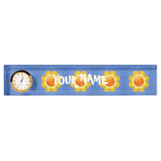 Sunny Day Vintage  Desk Nameplate with Clock