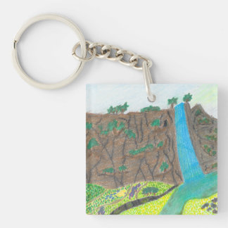Sunny Falls Cliff and Meadow Double-Sided Keychain
