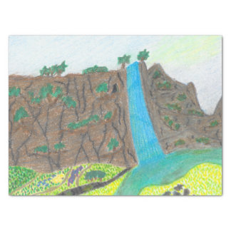 Sunny Falls Cliff and Meadow Scenic Gift Tissue Tissue Paper