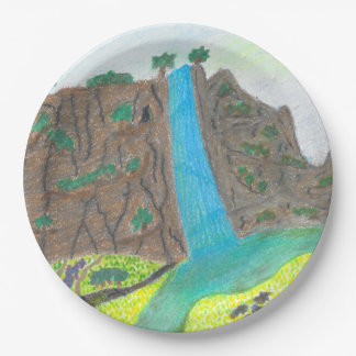 Sunny Falls Cliff and Meadow Scenic Paper Plates