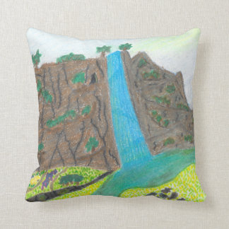 Sunny Falls Cliff and Meadow Scenic Pillow