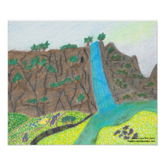 Sunny Falls Cliff and Meadow Scenic Poster