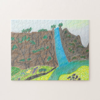 Sunny Falls Cliff and Meadow Scenic Puzzle