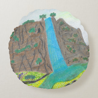 Sunny Falls Cliff and Meadow Scenic Round Pillow