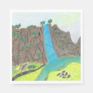 Sunny Falls Cliff and Meadow Scenic Set of Napkins Disposable Napkin