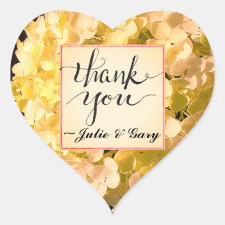 Sunny Gold Hydrangea Thank You Heart Sticker
