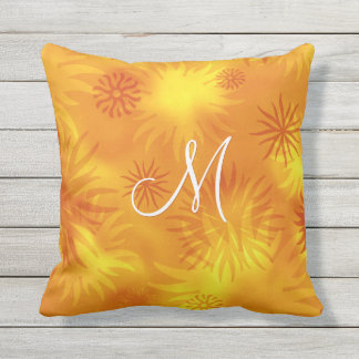 sunny gold orange abstract sunbursts pattern outdoor pillow