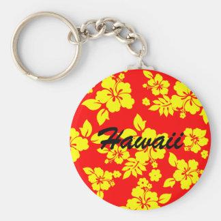 Sunny Hawaiian Basic Round Button Keychain