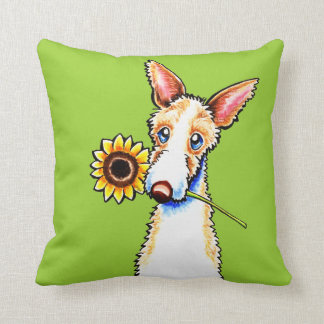Sunny Ibizan Hound Wirehaired Off-Leash Art™ Throw Pillow