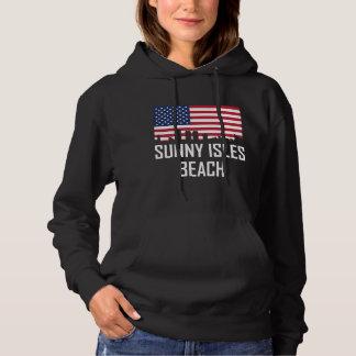 Sunny Isles Beach Florida Skyline American Flag Hoodie