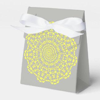 Sunny Lemon Grey Elegant Lacy Perxonalized Favor Box