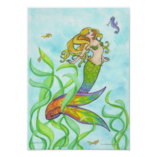 Sunny Mermaid + Fish fantasy art poster