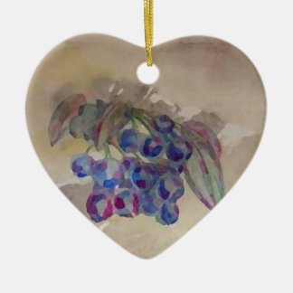 Sunny Morning Blueberries Kitchen Cooking Foods Ceramic Heart Ornament