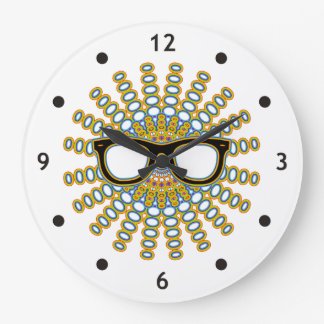 Sunny Nerd Glasses + your backgr. & ideas Wall Clock