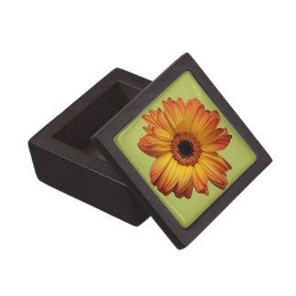 Sunny Orange gerbera flower bloom Premium Trinket Box