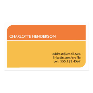 Sunny orange smart student employment resume card business card