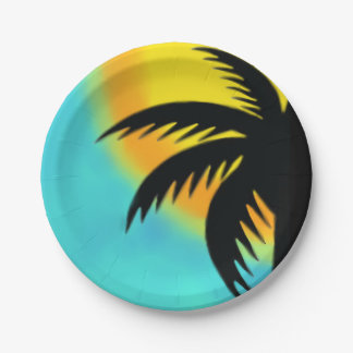 SUNNY PALM TREE PAPER PARTY PLATE 7 INCH PAPER PLATE