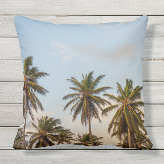 Sunny Paradise Sunset with Palms Vintage Throw Pillow