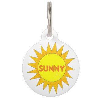 Sunny Personalized Yellow Sun Sunshine Dog Pet Tag