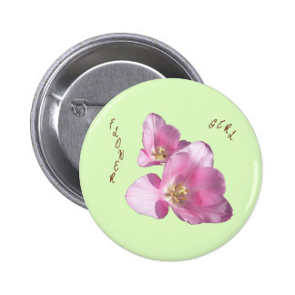 Sunny Pink Tulips Flower Girl Button
