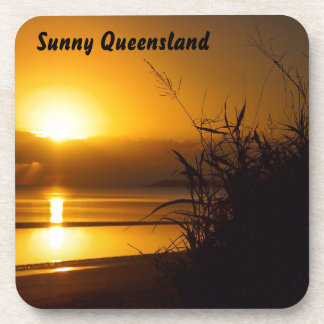 Sunny Queensland coastal sunrise drink coaster set